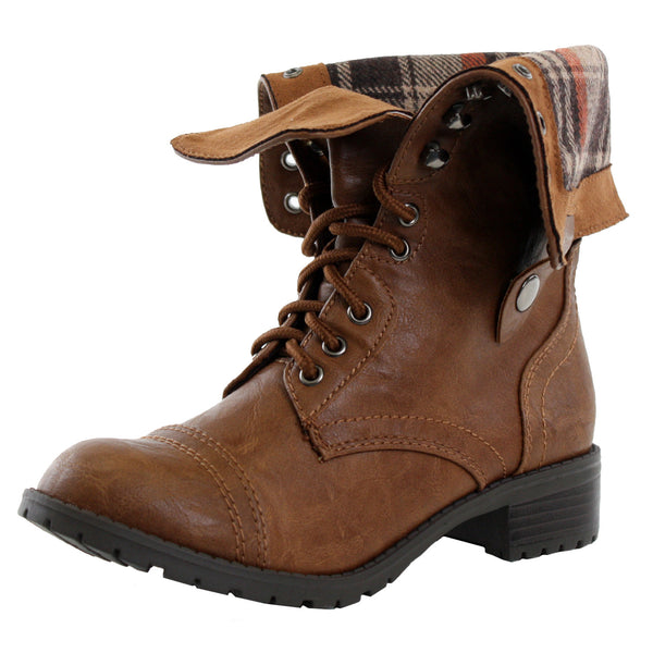 Oralee-S Fold Over Military Combat Boots