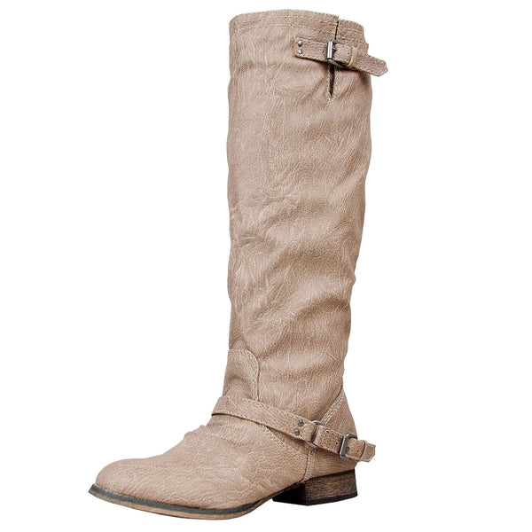 Outlaw-11 Leatherette Knee High Riding Boot