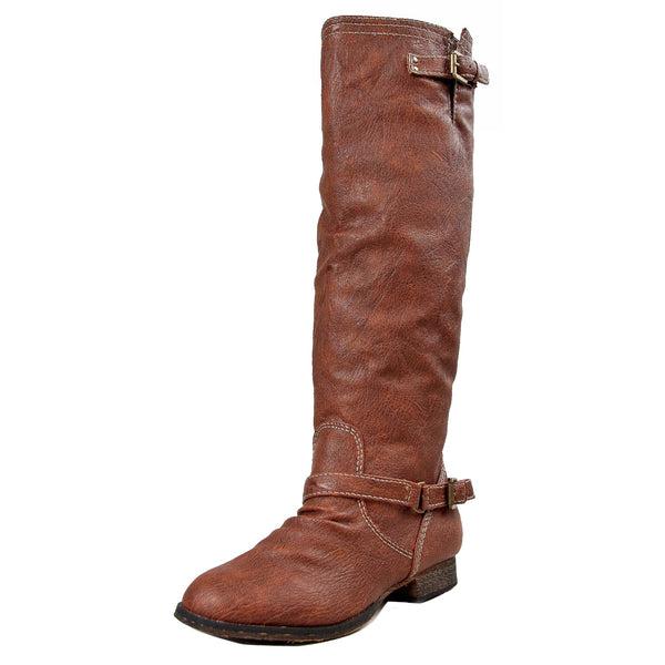 Outlaw-11 Faux Leather Knee High Riding Boots