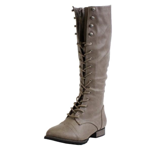Outlaw-13 Knee High Lace Up Military Boots
