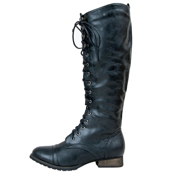 Outlaw-13 Knee High Lace Up Combat Boots