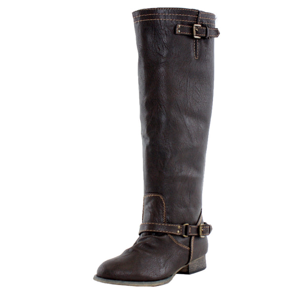 Outlaw-81 Faux Leather Knee High Riding Boots
