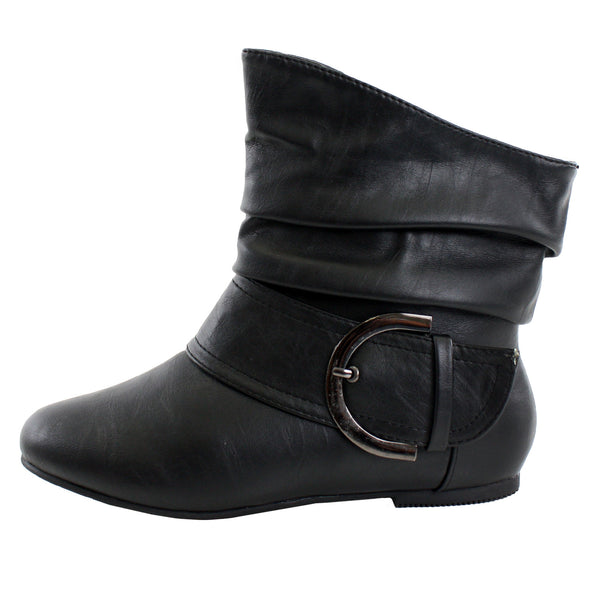 Pad-52 Slouchy Buckle Ankle Booties Boots