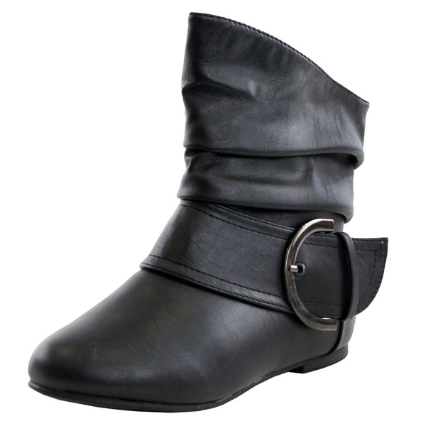 Pad-52 Buckle Slouchy Flat Ankle Boots