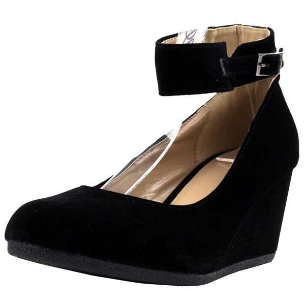 Patricia-03 Ankle Strap Round Toe Wedge Pumps