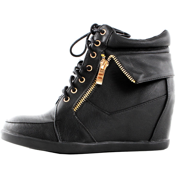 Peter-30 High Top Ankle Wedge Heel Boot Sneakers