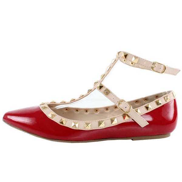 Pippa-35 Studded Ankle Strap Pointy Toe Flats