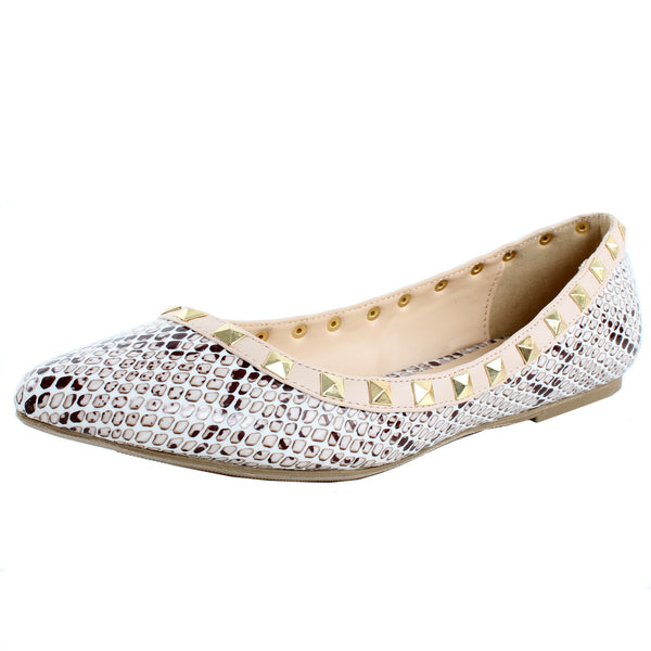 Pippa-36 Faux Snake Studded Ballet Flats