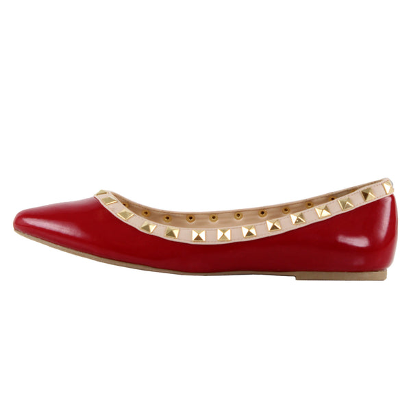 Pippa-36 Studded Pointy Toe Ballet Flats