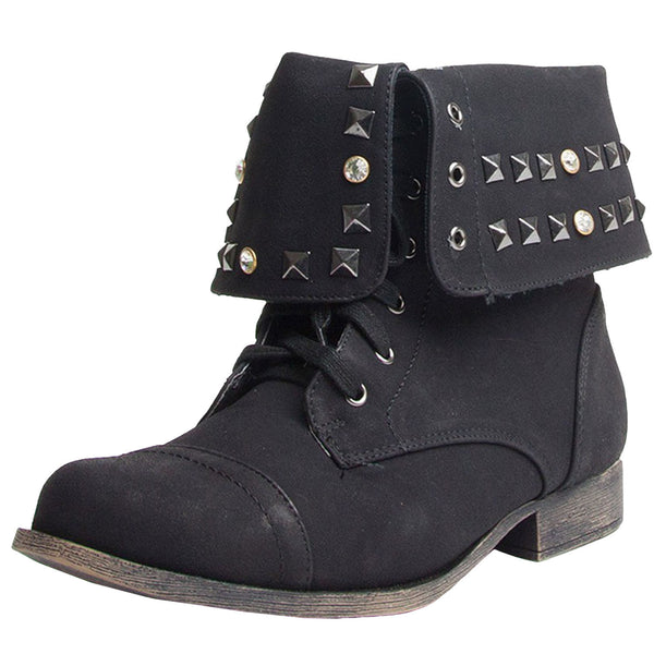 Prima-06 Studded Cuffed Combat Boots