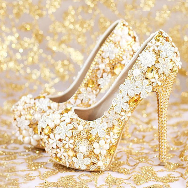 Gold Rhinestone Wedding Shoes Gorgeous Crystal Flower Bridal Dress Shoes with Matching Bag Gift for Wife Party Prom Pumps