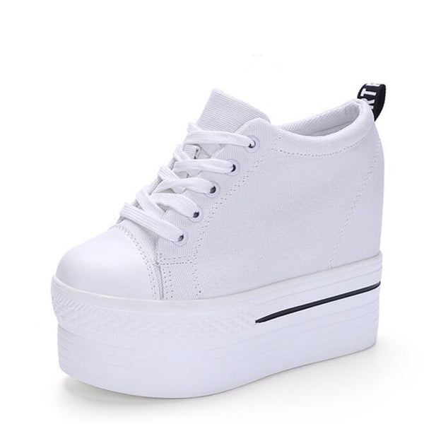 Wedges Canvas Shoes Woman Platform Vulcanized Shoes Hidden Heel Height Increasing Casual Shoes