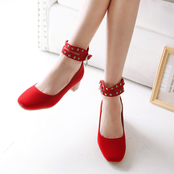Big Rushed Flock Platform High Heels Women Pumps Shoes Woman