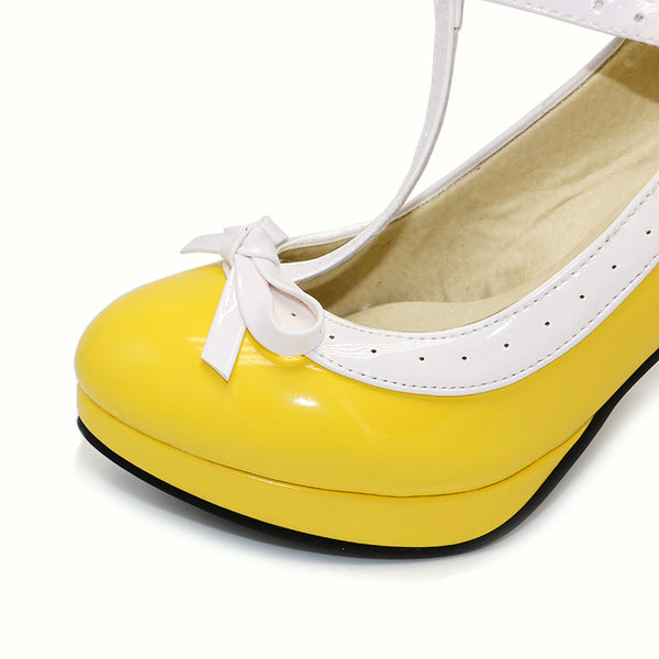 Women Summer high heels shoes Woman t-strap bowknot pumps lady platform dress Footwear