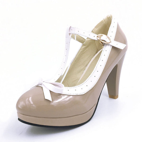 Woman t-strap bowknot pumps lady platform dress Footwear Women Summer high heels shoes