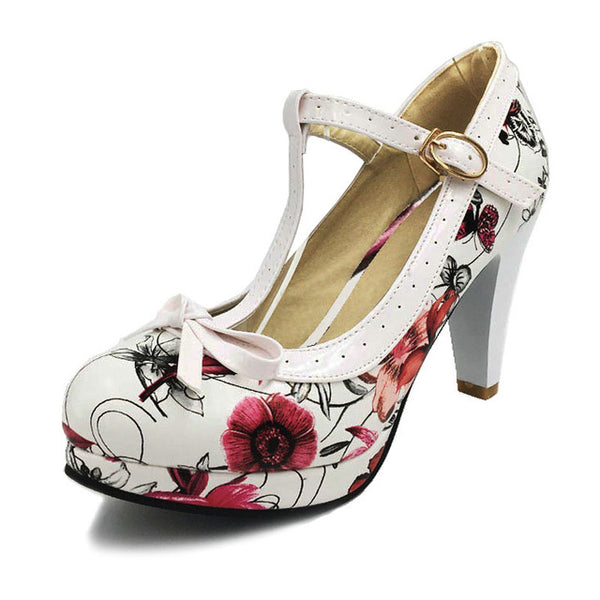 Women's Flower Summer high heels shoes Woman t-strap bowknot pumps lady platform daily work dress Footwear