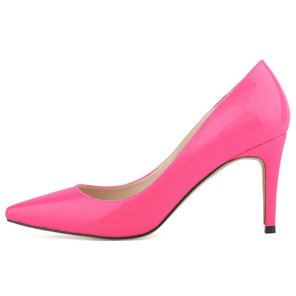 Neon Fashion star pointed toe solid high heels shoes nightclub women's pumps thin heels slip on shoes