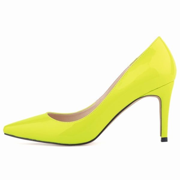 Neon Fashion star pointed toe solid high heels shoes nightclub women