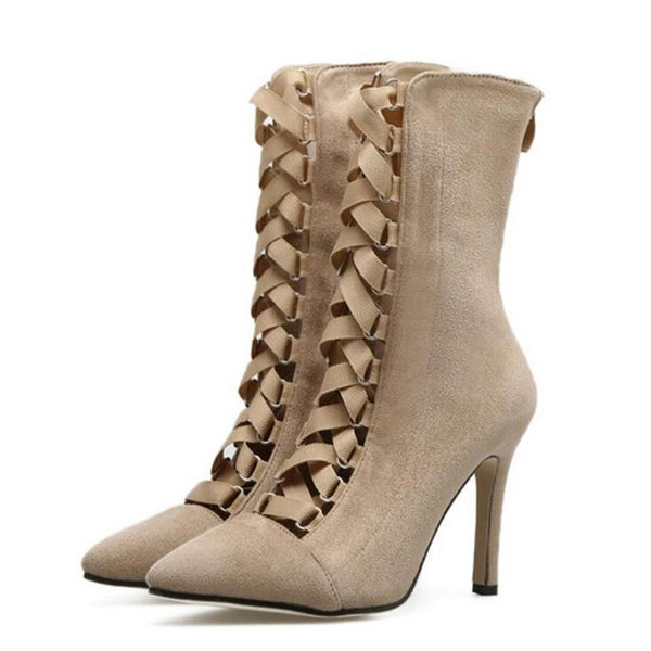 Gladiator High Heels Women Pumps Stiletto Sandal Booties Pointed Toe Strappy Lace Up Pumps Shoes Woman Boots