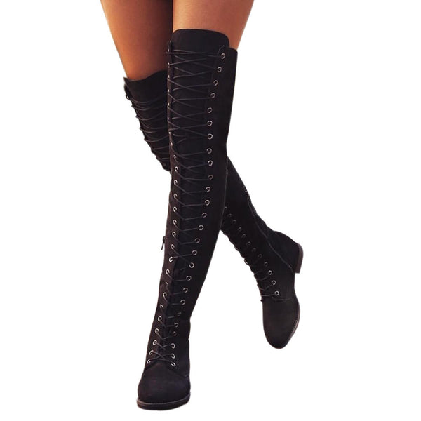 Women Cross-tied Platform Shoes Thigh High Boots Over The Knee Boots Flat Heel Cosplay Boots