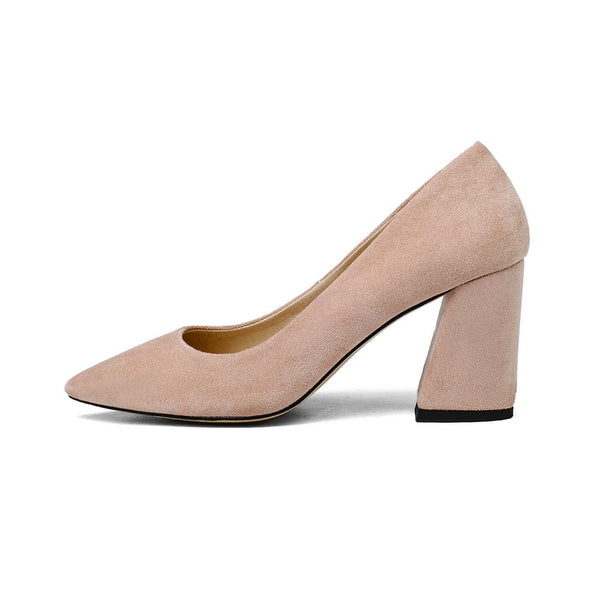 2018 Women Pumps Sweet Style Square High Heel Flock Pointed Toe Spring and Autumn Elegant Shallow Ladies Shoes
