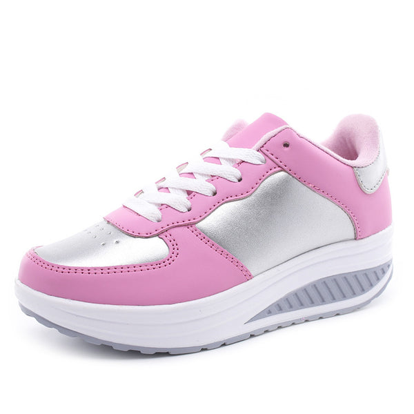 Women Sneakers Platform Trainers Summer Wedges Casual Shoes Basket Lace Up Shoes Pink White Black