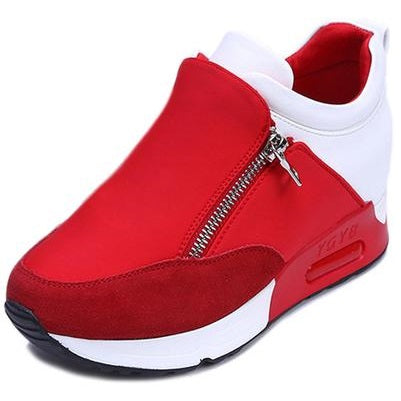 New Women Casual Shoes Height Increasing Zipper Breathable Women Walking Flats Trainers Shoes Autumn Platform