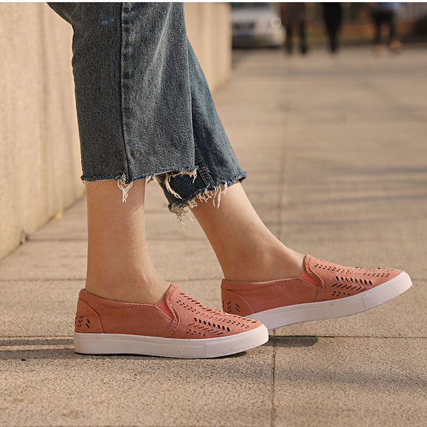 Women Cut-outs Elastic Band Vulcanized Shoes Female Flock Slip-on Shallow Breathable Flat Casual Shoes Woman