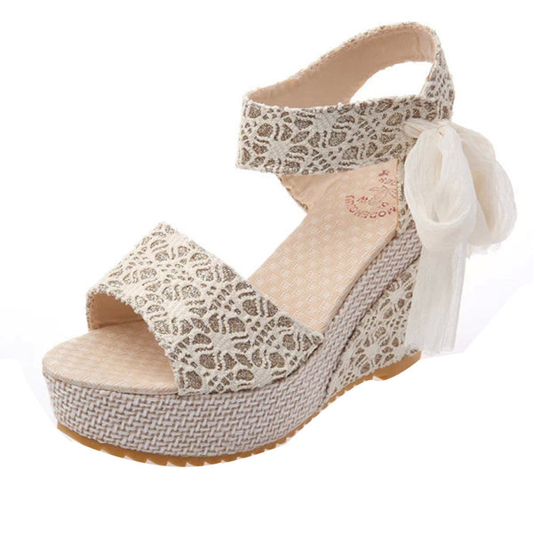 Women Fashion Summer Slope With Flip Flops Lace Sandals Loafers Shoes Bow Wedge