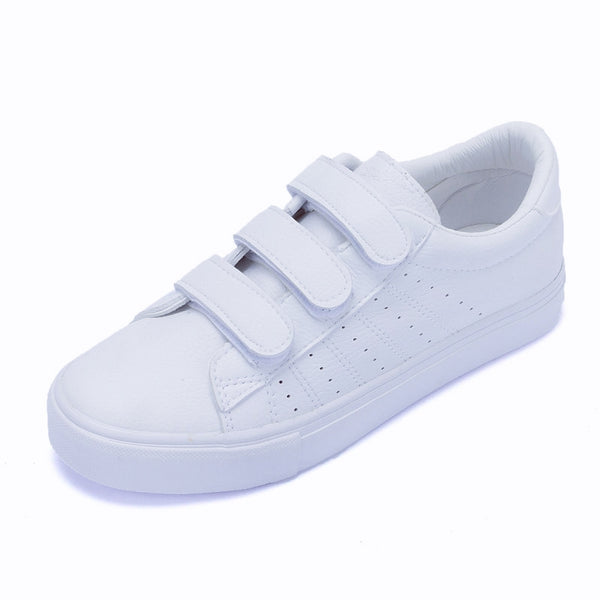Women shoes casual high platform PU leather striped simple women casual white shoes sneakers