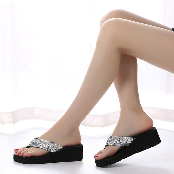 Women's Summer Sequins Anti-Slip EVA Sandals Slipper Indoor Outdoor Flip-flops