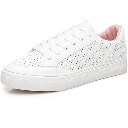 Spring White Sneakers For Women Comfortably Lace-up Flats Shoes Woman Sneakers Fashion Casual Shoes Girls
