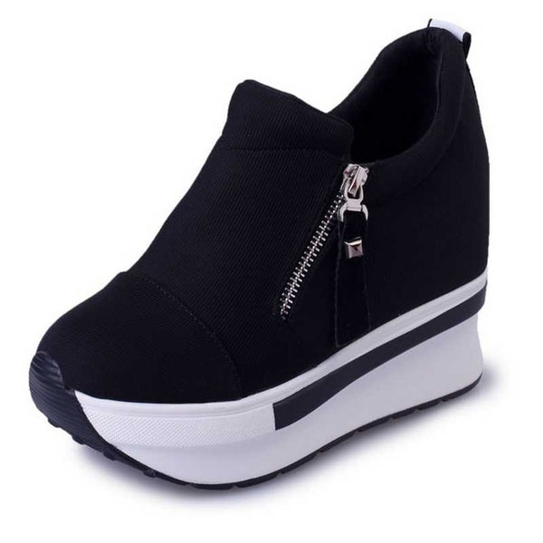 high platform shoes with zip casual sweet sneakers shallow women shoes