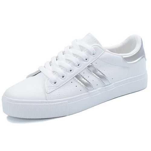 f0e7866718 woman new fashion casual platform striped PU leather classic cotton women  casual lace-up white. Guilty Shoes