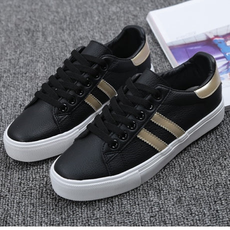 woman new fashion casual platform striped PU leather classic cotton women casual lace-up white winter shoes sneakers