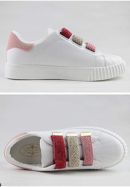 Hook loop women shoes breathable white shoes mixed colors fabric fashion shoes sewing rubber sneakers women non-slip zapatos