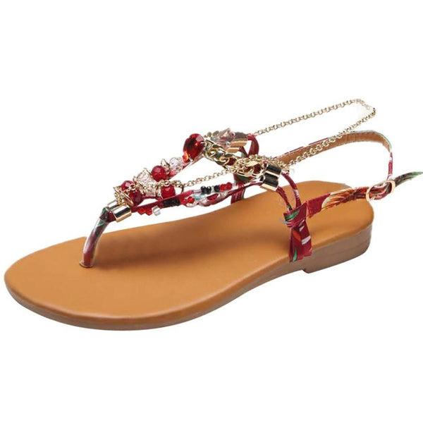 Women Summer Style Non-slip Bohemian Beach Shoes Crystal Chains Flat Sandals