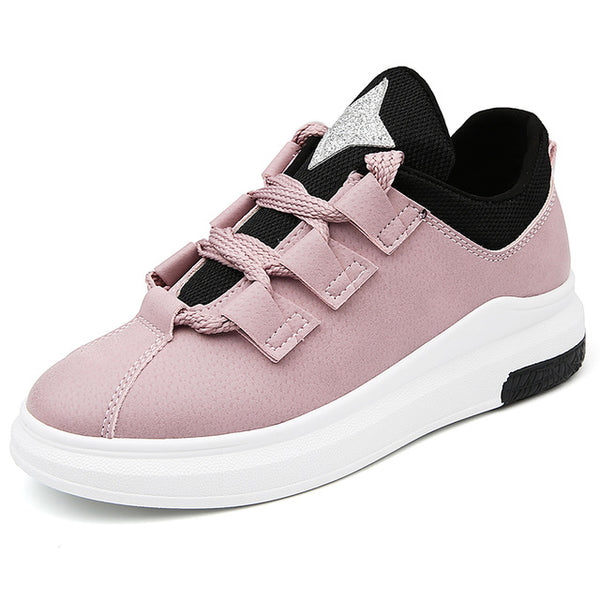 Women Sneakers Breathable Round Toe Casual Shoes Student Platform Shoes Flats  Lace Up Ladies Shoe