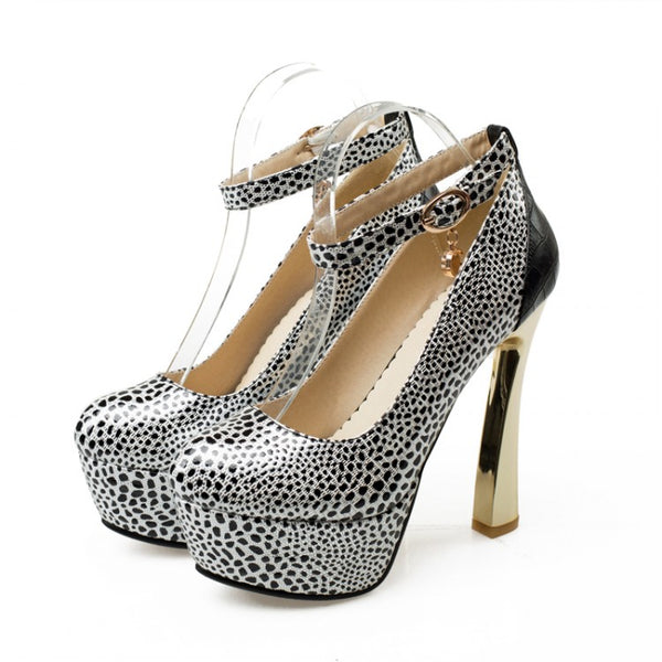 Fashion Platform Pumps Sexy High-heeled Shoes Heels Round Toe Leopard Platform Shoes Women's Wedding Prom Shoes