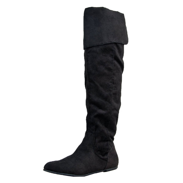 PROUD-09 Cuff Over the Knee Thigh High or Knee High Slouchy Flat Boot