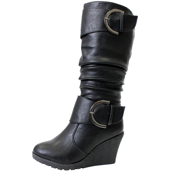 Pure-65 Riding Wedge Mid-Calf Boots