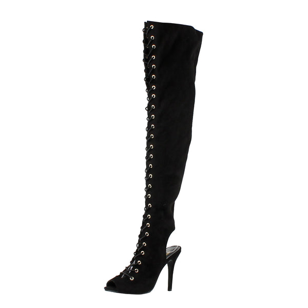 Randi-23 Lace Up Over The Knee High Heel Boots