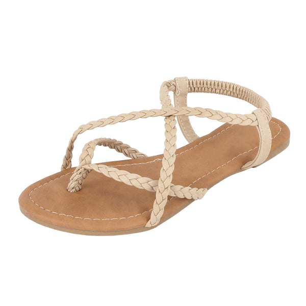 Guilty Heart - Womens Crisscross Summer Braided Comfort Yoga Strappy Sandal Flats