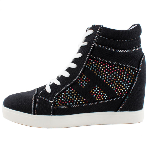 Reneeze Dolly-01 High Top Rhinestone Lace Up Sneakers