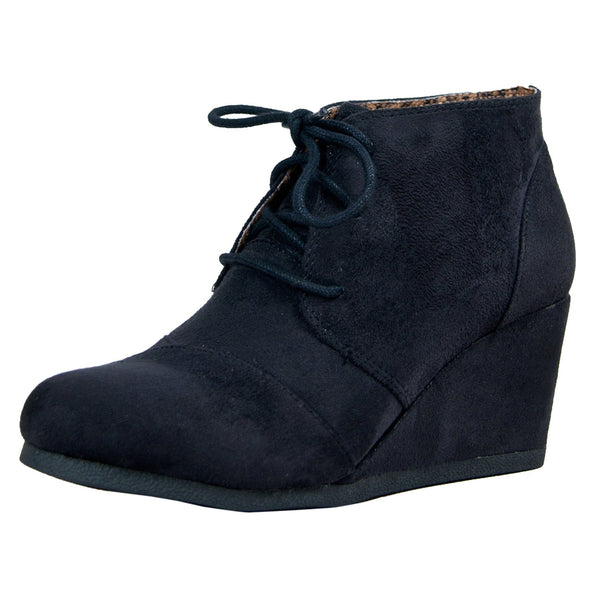 Rex Faux Suede Lace Up Ankle Wedge Booties