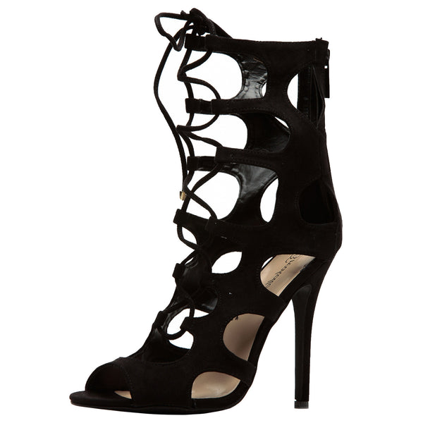 Roma-31 Cut Out Lace Up Peep Toe Stilettos