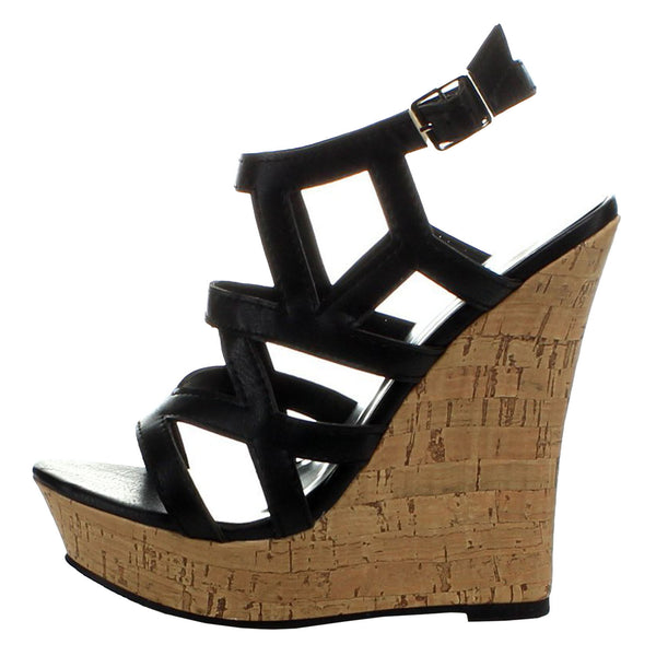 Romy-01 Caged Gladiator Platform Wedge Sandals