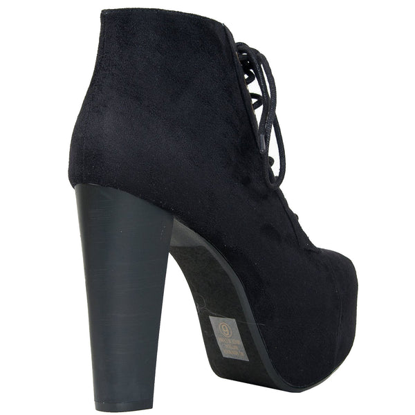 Rosa-S Faux Suede Chunky Heel Ankle Boots