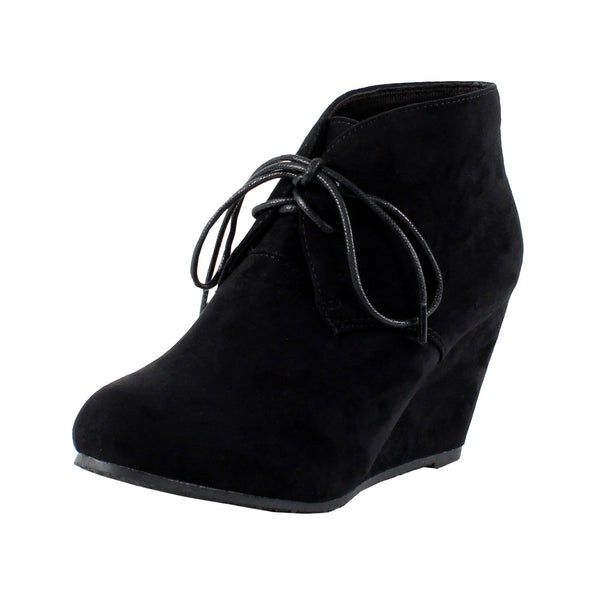 Sally-15/5 Lace Up Wedge Ankle Boots