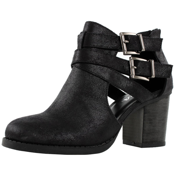 Scribe-S Cut Out Chunky High Heel Ankle Boots